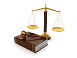 3d illustration: Legal aid. trial balance and the hammer of the