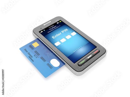 3d illustration: Credit card and mobile phone