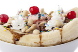 closed up banana split sundae