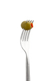 olive fruit on fork