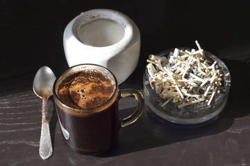 Coffee and cigarettes unhealthy habit in the morning