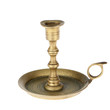 The old brass candlestick on a white background.