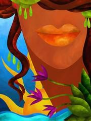 sfondo astratto con viso di donna