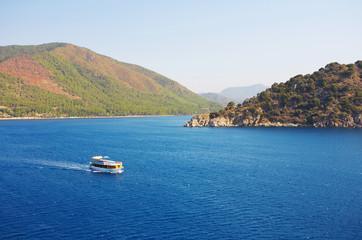 Aegean sea landscape with ship. Turkey. Marmaris.