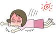 熱中症 倒れる女性
