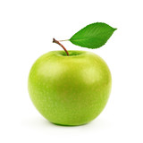 Fototapety Green apple with leaf isolated on white background