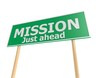 Street sign with mission word