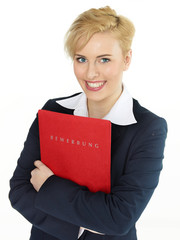 Woman with application file is happy about her trainee position