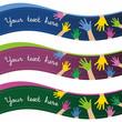 Banderolas con manos de niños