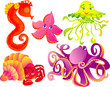 Set sea animals isolated on a white background.