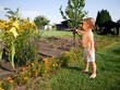Kleiner Junge beim Blumen gießen