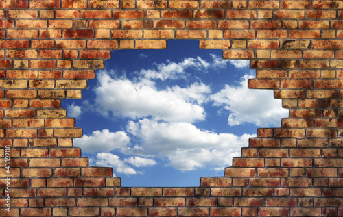 Brick wall with sky