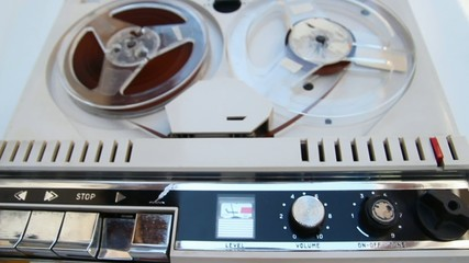 vintage tape recorder playing an original speech from sixties
