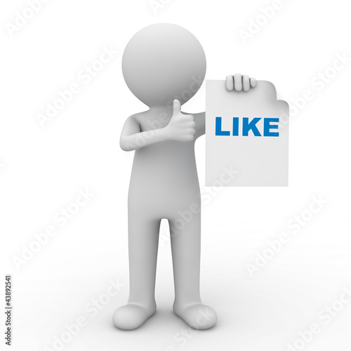 3d man showing thumbs up like on white background