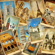 canvas print picture - vintage travel collage background