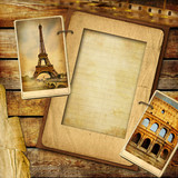 vintage background with blank frame