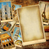 vintage travel background with blank page poster