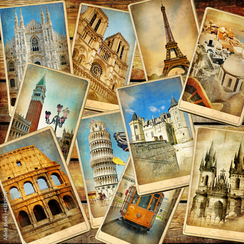 canvas print picture vintage travel collage background