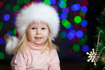 Christmas happy kid over  bright festive background