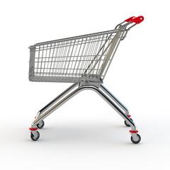 Einkaufswagen auf weißem Hintergrund