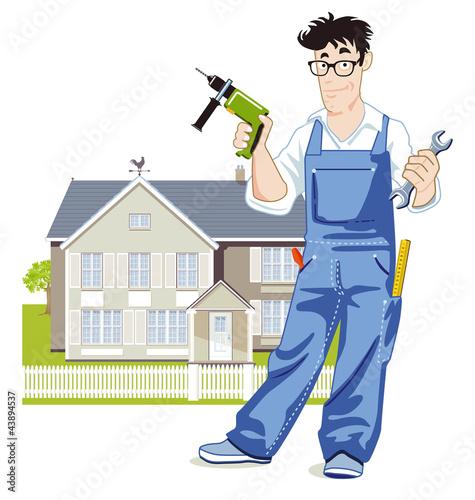 Heimwerker mit Wohnhaus