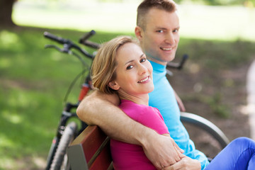 Couple with their bikes