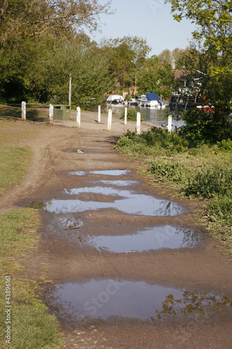 Footpath with big puddles