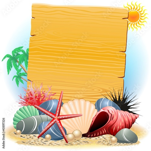 Cartellone Legno con Conchiglie-Wooden Panel wih Seashells