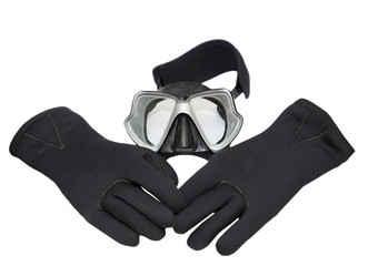 diver mask and neopren gloves