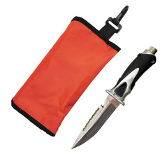 diver knife and safety marker on white background