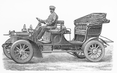 Vintage convertible automobile with 12 HP two cylinder engine