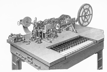 Vintage drawing of a Hughes Morse code telegraph