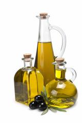 Aceiteras tradicionales con aceite de oliva virgen extra.