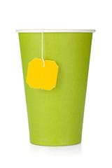 Cardboard tea cup with teabag