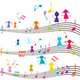 Music note with kids playing with the musical notes