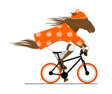 A Dappled Horse Riding a Bicycle. Cycle Caricature.