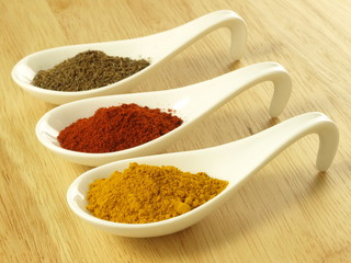 Cumin, turmeric and pepper