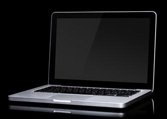 Opened laptop on black background