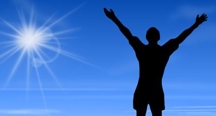 Jogger im Ziel - blauer Himmel