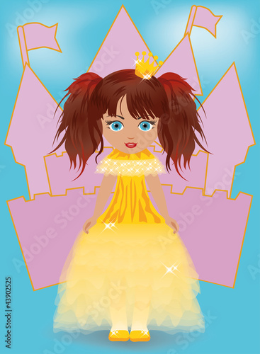 Foto op Aluminium Kasteel Cute little princess, vector illustration