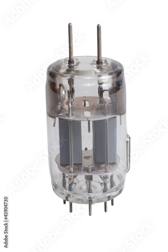 Vacuum electronic radio tubes isolated on a white background