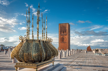 Tour Hassan tower golden decorations Rabat Morocco