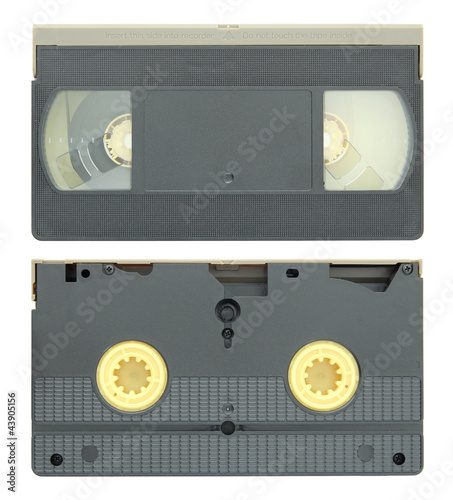 video tape cassette isolated on white