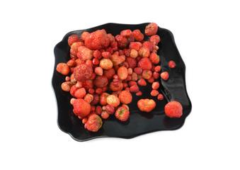 tasty strawberry in black plate isolated