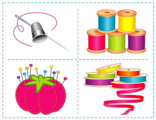 Sewing accessories: silver needle, thimble, ribbon, thread, pins
