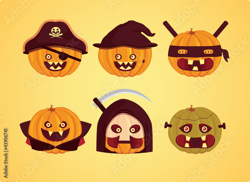 Halloween - Pumpkin monsters set