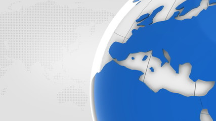 Turning Globe With Blue Continents On White Background