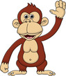Chimpanzee cartoon waving hand