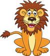Funny lion cartoon sitting