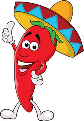 Chili cartoon with sombrero hat